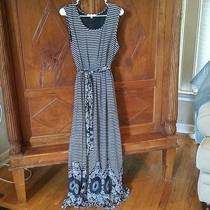 NWOT Black/Tan Striped/Floral Dress